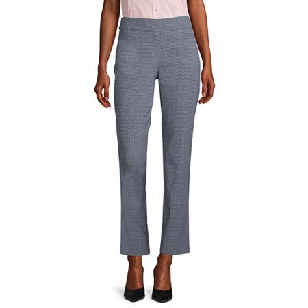 Liz Claiborne Womens Straight Pull-On Pants, 4 , Black