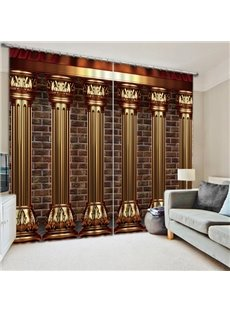 Luxury Roman Columns 3D Printed European Style Thick Polyester Blackout Custom Curtains