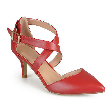 Journee Collection Womens Riva Strap Pumps, 10 Medium, Red