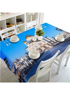 Durable Taj Mahal Architecture Prints Dining Room Decoration 3D Tablecloth