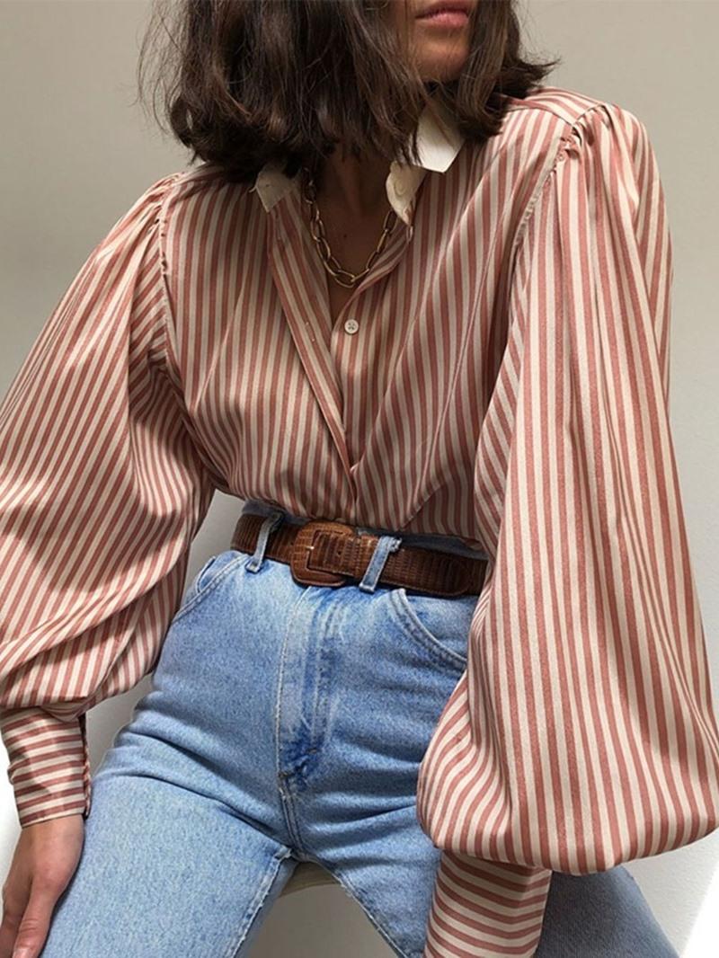 Ericdress Women's Long Sleeve Standard Stripe Blouse