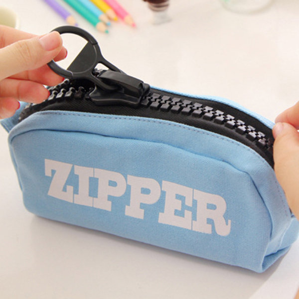 Large Capacity Canvas Pencil Box Zipper Polyester Cosmetic Storage Bag