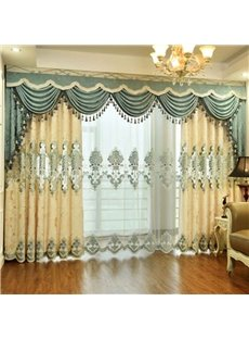 Chenille Beige Pattern European Style Room Darkening Curtain