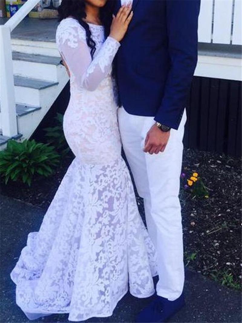 Ericdress Backless Lace Mermaid Long Sleeves Wedding Dress