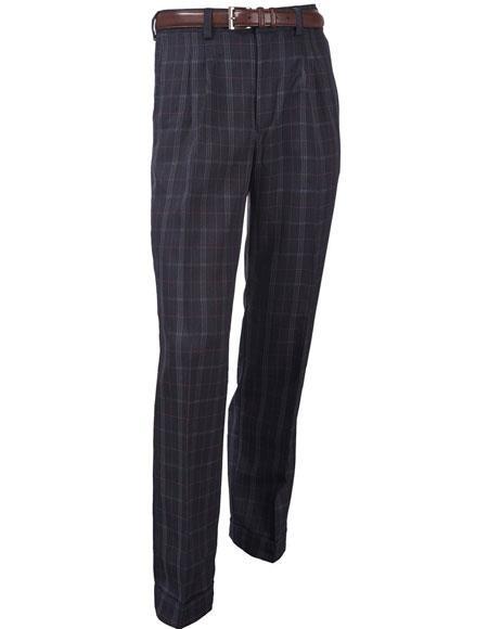 Mens Double Pleat Microfiber Poly/Rayon Plaid Pattern Navy Dress Pants