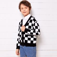 Boys Drop Shoulder Buttoned Front Checked Cardigan