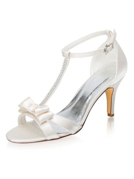 Milanoo Elegant Wedding Shoes Ivory Satin T-type Sandals Stiletto Heel Bridal Shoes With Bow