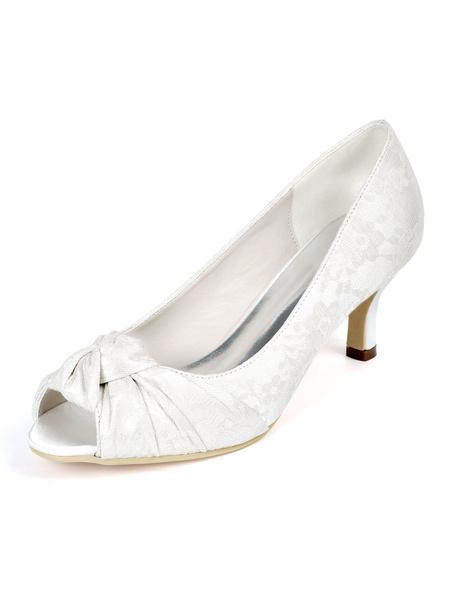Milanoo Womens Wedding Shoes Ivory Lace Peep Toe Kitten Heel Bridal Shoes