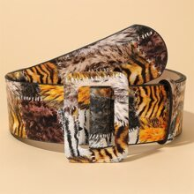 Square Buckle Tiger Pattern Belt