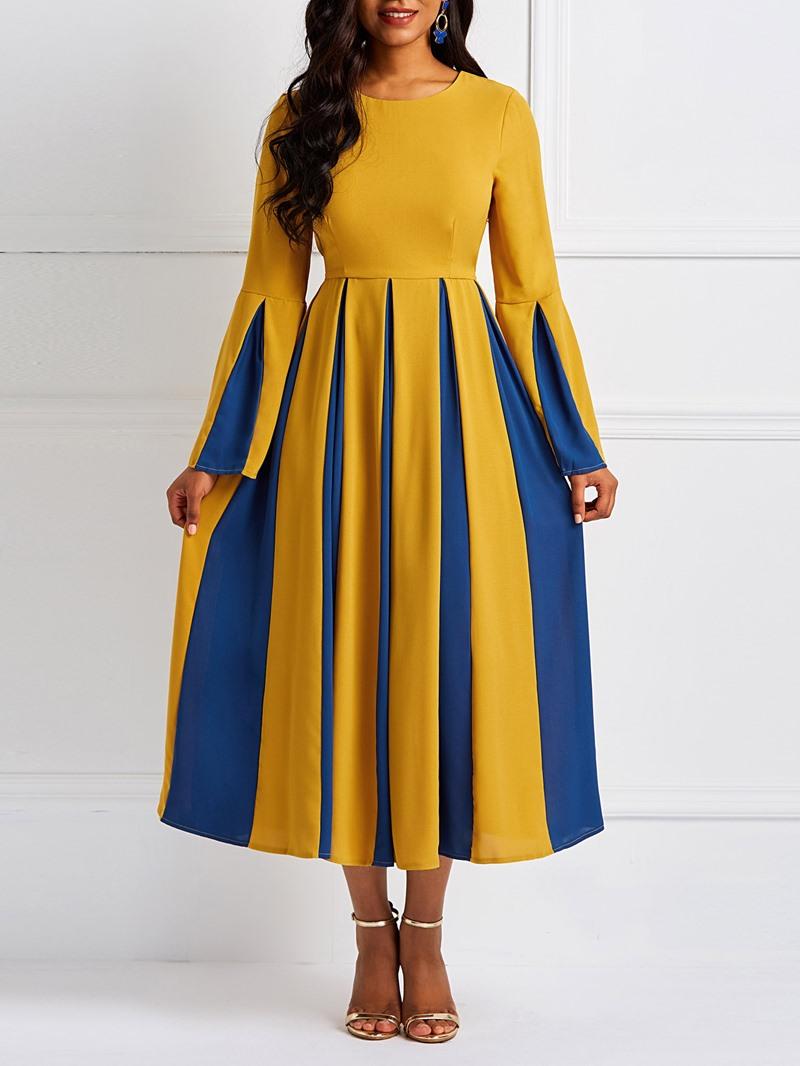 Ericdress Patchwork Color Block Flare Sleeve Pleated Elegant Dress