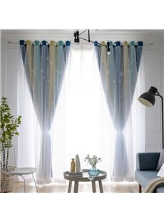 Colorful Cloth and White Voile Sewing Together Blackout Hollowed-out Curtains