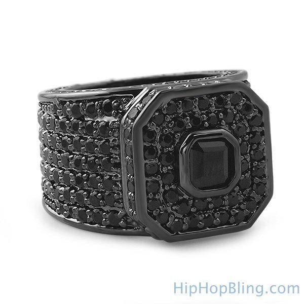 Asscher Boss Black Bling Bling Ring