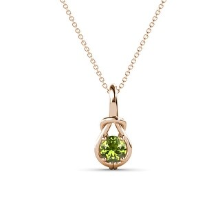 TriJewels Gemstone Women Solitaire Love Knot Pendant Necklace 14K Gold (Peridot - Rose)