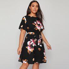Plus Big Floral Belted Dress