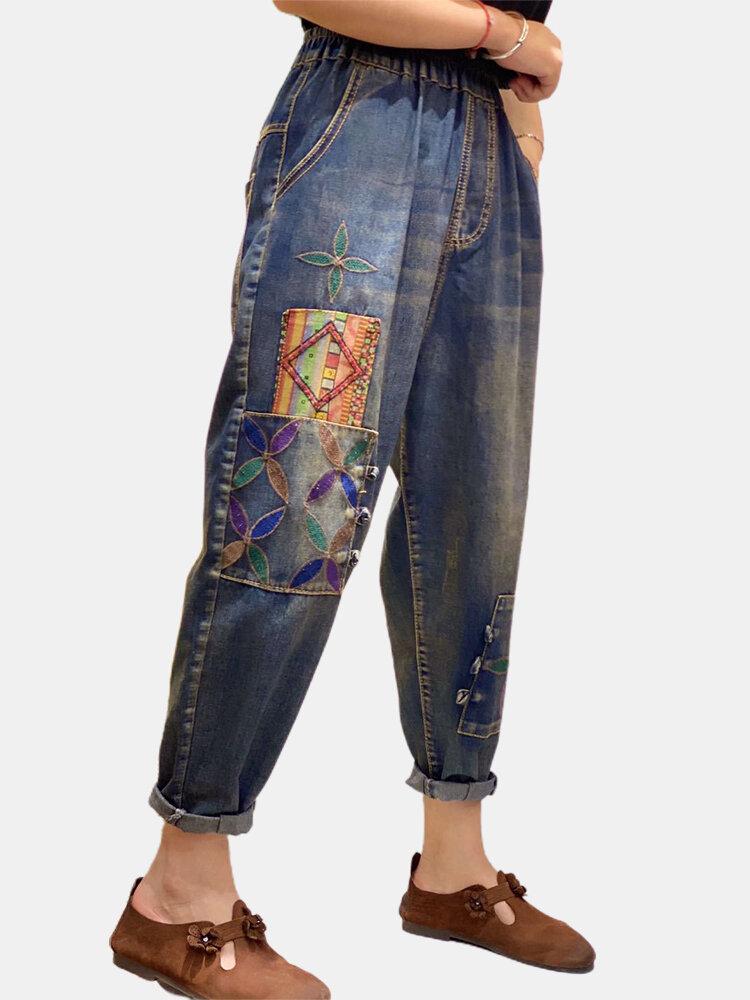 Vintage Embroidered Elastic Waist Denim Pants For Women