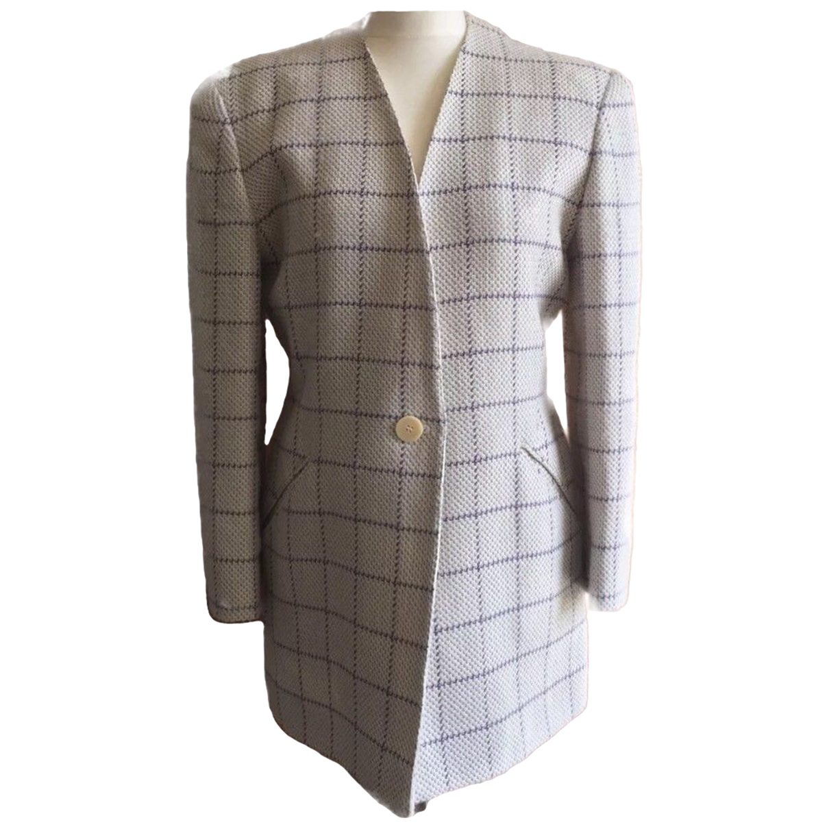 Non Signé / Unsigned Oversize Beige Wool jacket for Women 10 UK
