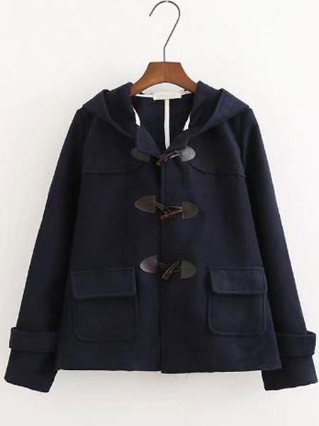 Milanoo Classic Lolita Coats Dark Navy PU Overcoat Synthetic Winter Lolita Outwears