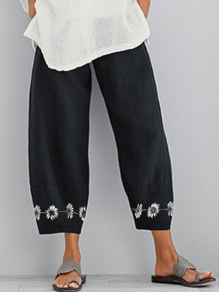 Flower Print Loose Elastic Waist Casual Pants For Women