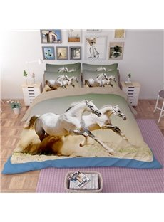 Realistic White Running Horses Print 4-Piece Polyester Duvet Cover Sets