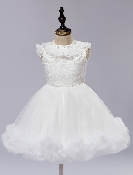 Milanoo Flower Girl Dress White Satin Short Pageant Princess Dress With Lace Applique