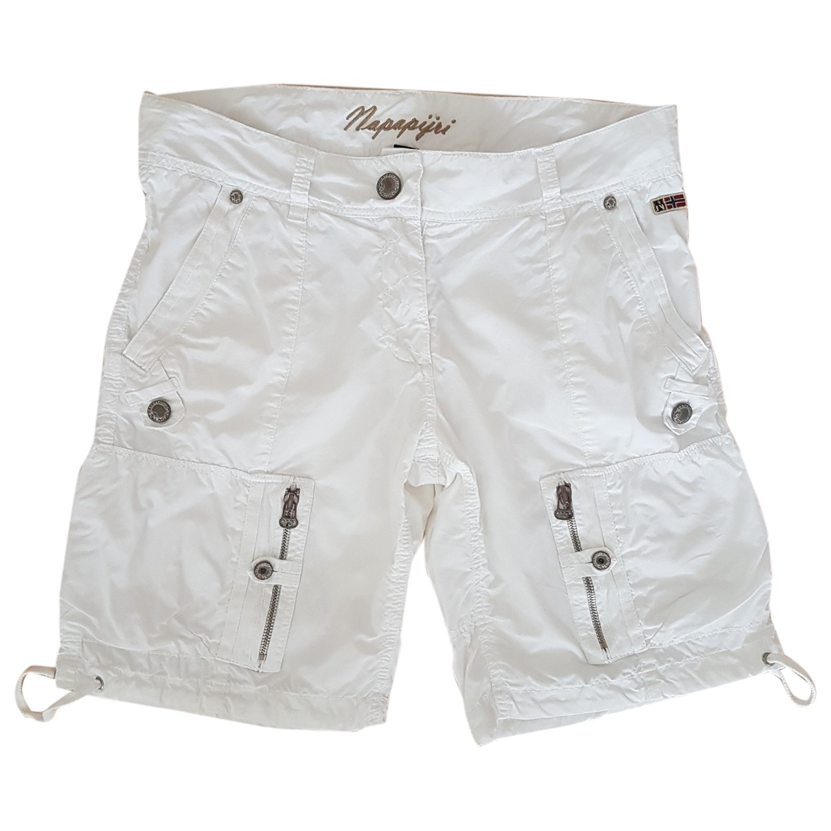Napapijri \N White Cotton Trousers for Women 42 FR