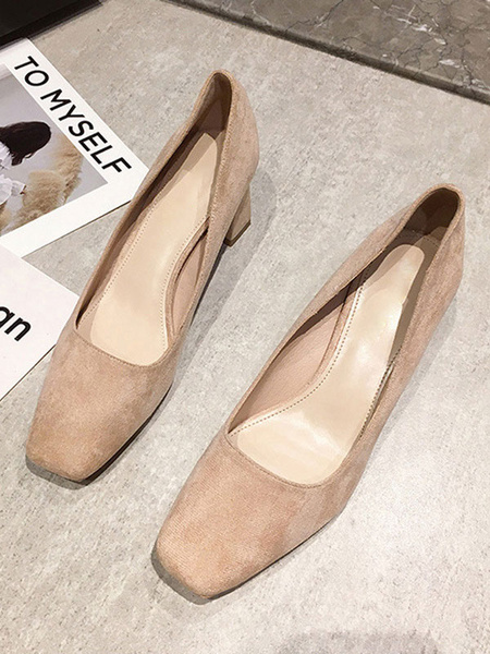 Milanoo Woman\'s Mid-Low Heels Chic Square Toe Chunky Heel Teal Elegant Pumps Heels