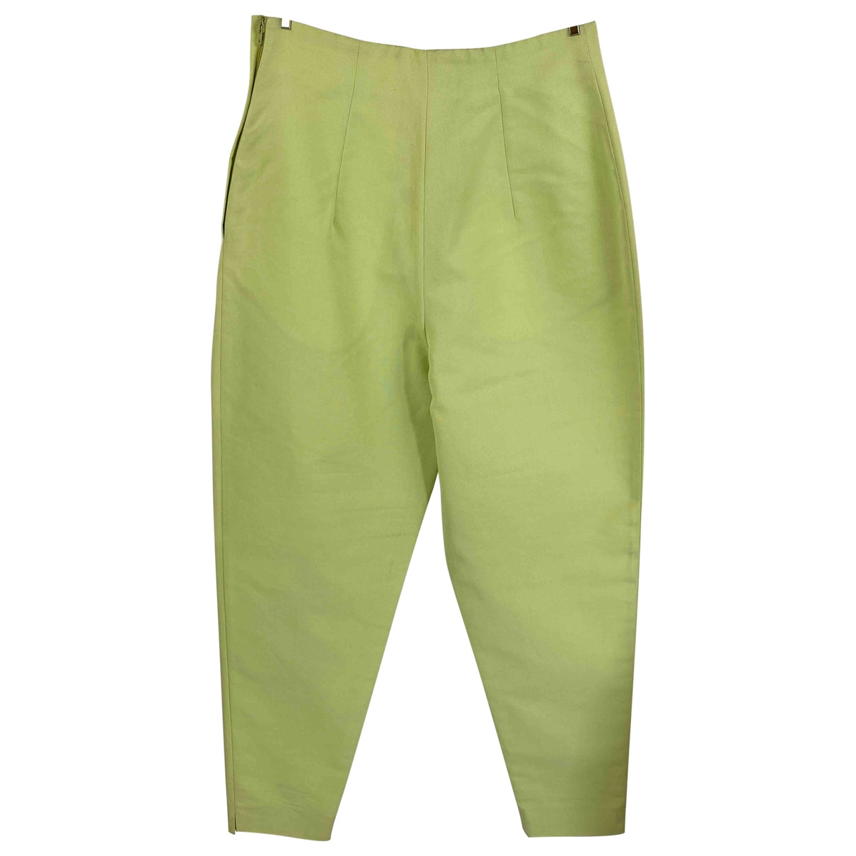 Non Signé / Unsigned \N Green Cotton Trousers for Women 40 IT