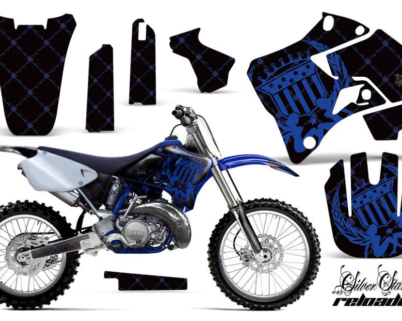 AMR Racing Dirt Bike Graphics Kit Decal Sticker Wrap For Yamaha YZ125 YZ250 1996-2001áRELOADED BLUE BLACK