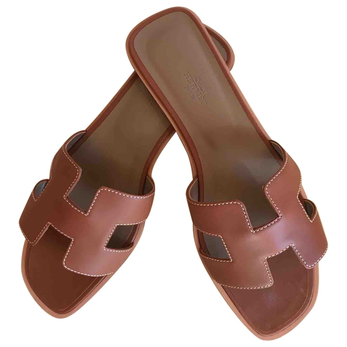 Hermès Oran Brown Leather Sandals for Women 40 EU