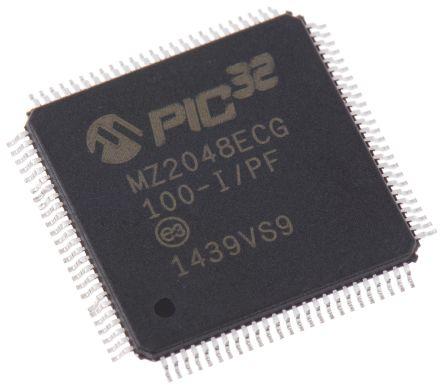 Microchip PIC32MZ2048ECG100-I/PF, 32bit PIC Microcontroller, PIC32MZ, 200MHz, 2.048 MB Flash, 100-Pin TQFP