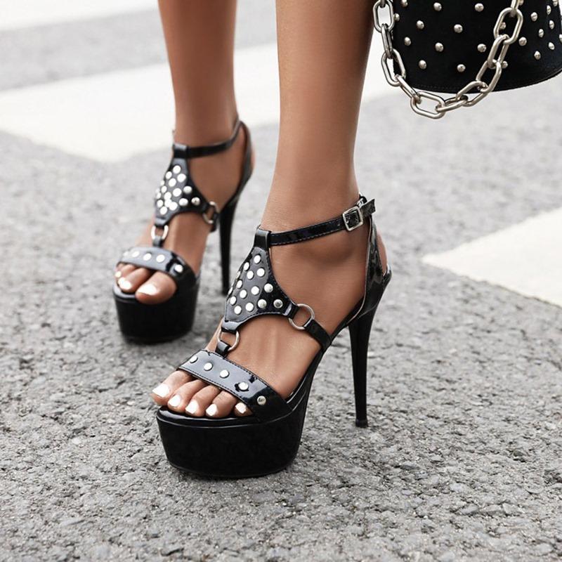 Ericdress Stiletto Heel Buckle Heel Covering Sweet Sandals