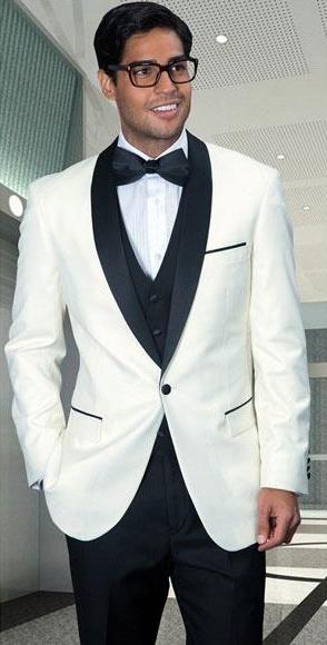 Men's Off White Modern Fit 1 Button Shawl Collar 3 Piece Tuxedo