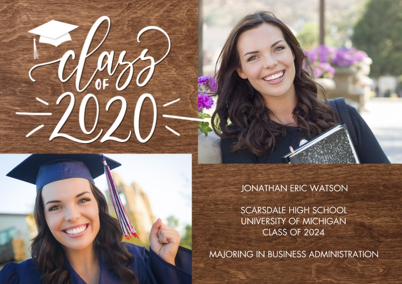 2020 Graduation Announcements 5x7 Cards, Premium Cardstock 120lb, Card & Stationery -Class of 2020 Gold Script by Tumbalina