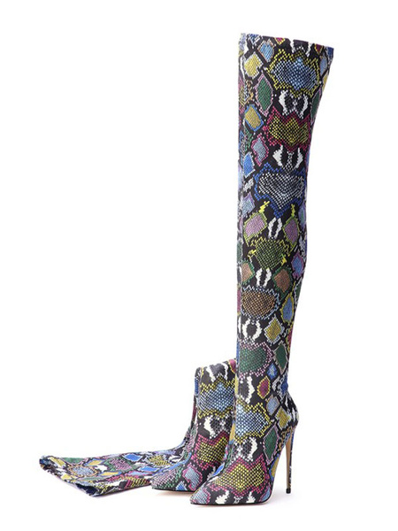 Milanoo Over The Knee Boots Green Pointed Toe Snake Print Stiletto Heels Winter Boots For Women