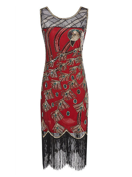 Milanoo Women Flapper Dress Peacock 1920s Fashion Style Outfits Red Great Gatsby Costume Fringe Sequins With Tassels Retro 20s party Dress