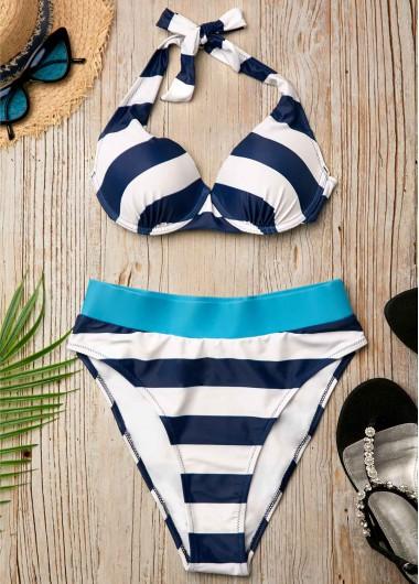 Sexy Bikinis Navy Blue Mid Waist Striped Two Piece Bikini - L