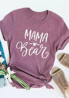 Mama Bear Heart T-Shirt Tee - Purple