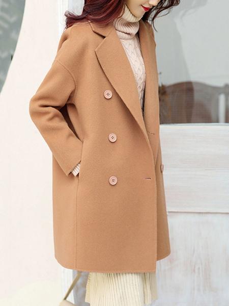 Milanoo Woman Coat Turndown Collar Buttons Grey Maxi Coat Winter Coat For Women