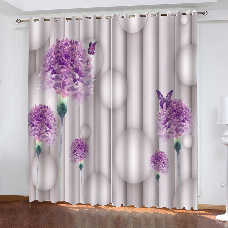 3D Purple Floral and Butterfly Printed Blackout Decoration 2 Panels Curtain Drapes for Living Room No Pilling No Fading No off-lining