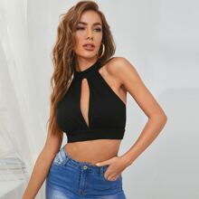 Cut Out Front Crochet Trim Tie Back Crop Top