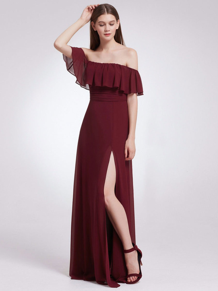 Milanoo Bridesmaid Dresses Off The Shoulder A Line Floor Length Zipper Chiffon Wedding Party Dress
