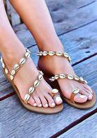 Summer Shell Strap Slip On Flat Sandals