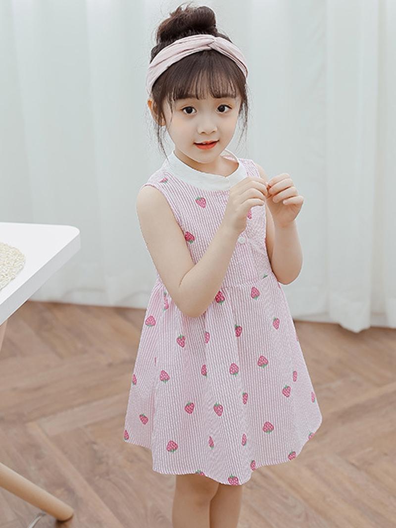 Ericdress Strawberry Print Button Girl's Sleeveless Casual Dress
