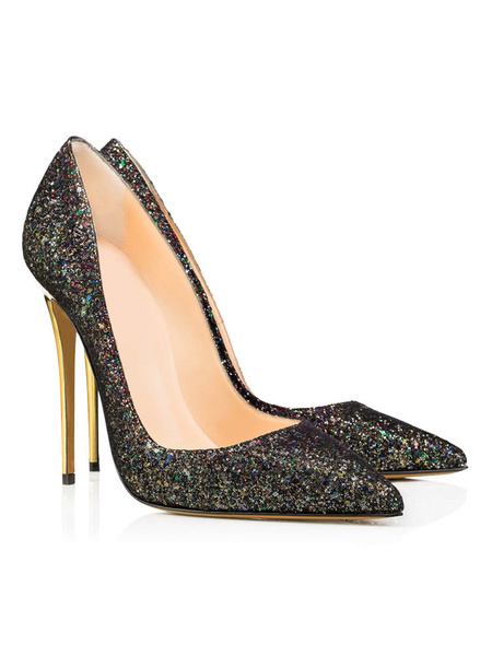 Milanoo Black Dress Shoes Glitter Pointed Toe Stiletto Slip On Party Shoes Women High Heel Evening Shoes