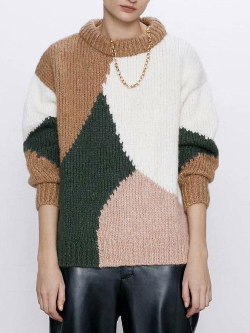 Ericdress Regular Color Block Loose Geometric Standard Sweater