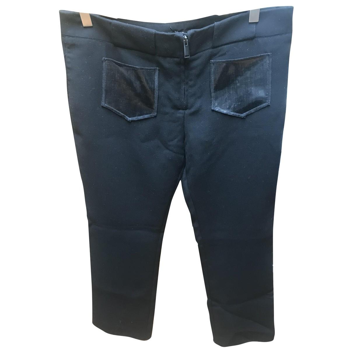 Paco Rabanne \N Black Wool Trousers for Women 42 IT