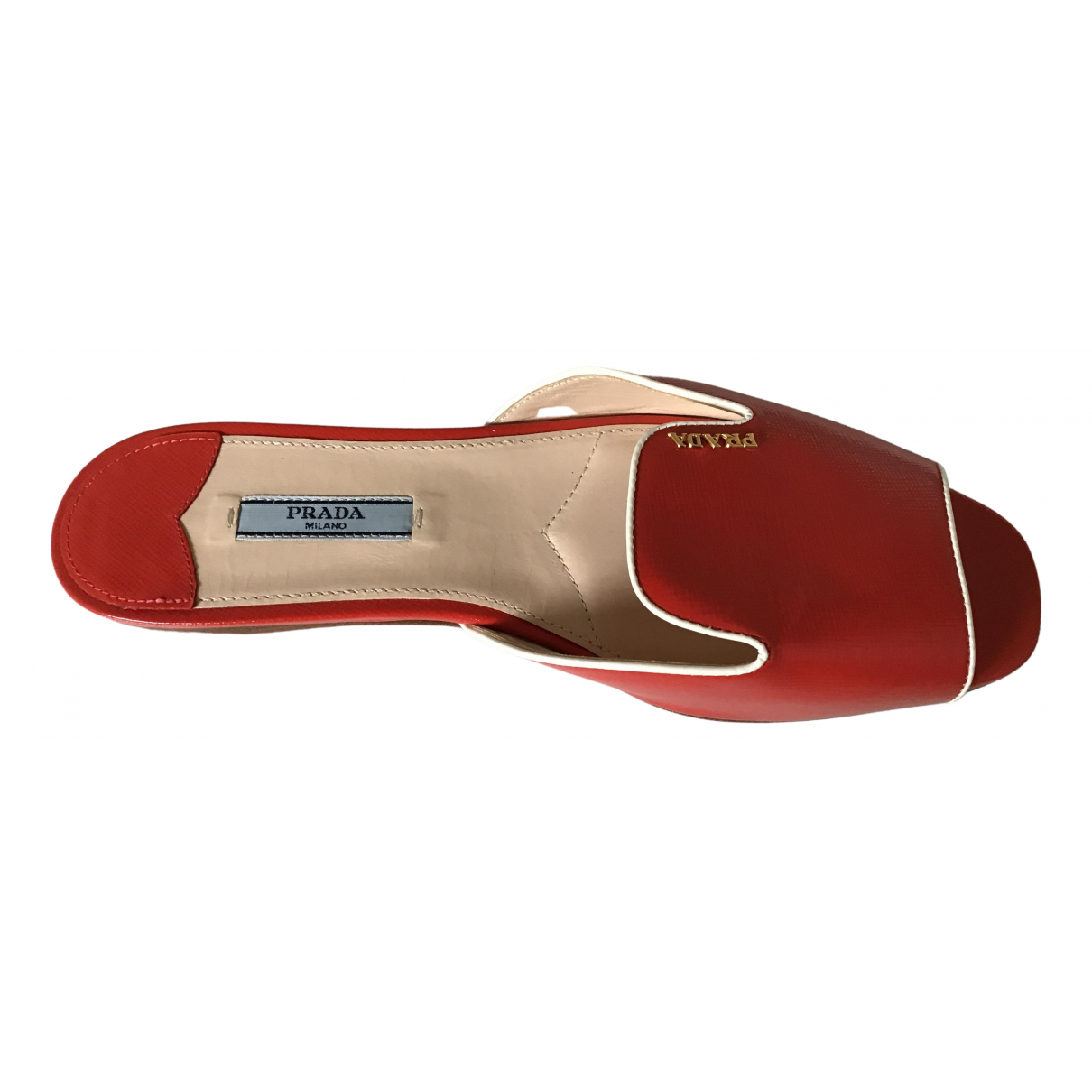 Prada \N Red Leather Flats for Women 8.5 US