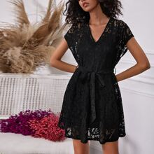 Batwing Sleeve Belted Lace Dress