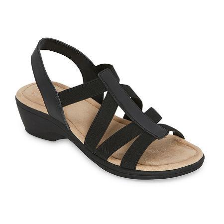 east 5th Womens Ichiro Wedge Sandals, 10 Medium, Black