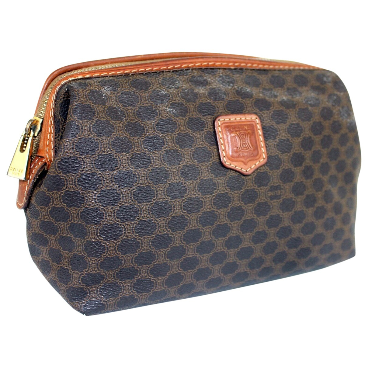 Celine Triomphe Vintage Brown Cloth Clutch bag for Women \N